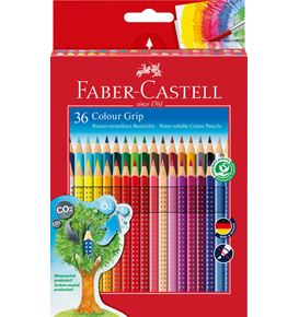 Faber-Castell - Colour Grip colour pencil, cardboard wallet of 36