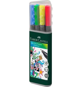 Faber-Castell - Finepen Grip 0.4 plastic case of 10
