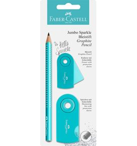 Faber-Castell - Jumbo Sparkle graphite pencil set, turqoise, 3 pieces