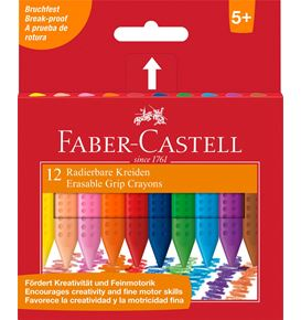Faber-Castell - Grip crayon erasable triangular, cardboard wallet of 12