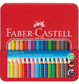 Faber-Castell - Coloured pencil Jumbo Grip metal tin of 16
