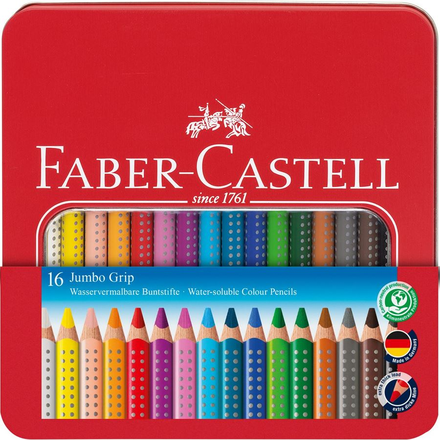 Faber-Castell - Jumbo Grip colour pencil, tin of 16