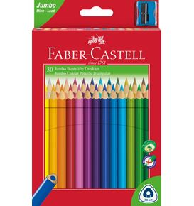 Faber-Castell - 30 Coloured pencil Jumbo triangular with sharpener