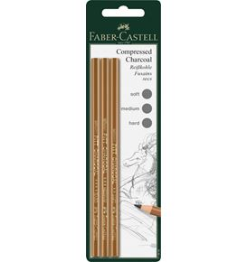 Faber-Castell - Pitt compressed charcoal pencil,set of 3, soft, medium, hard
