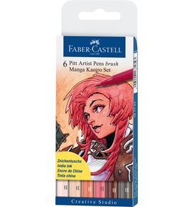Faber-Castell - Pitt Artist Pen Brush India ink pen, wallet of 6, Kaoiro