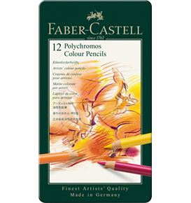 Faber-Castell - Polychromos colour pencil, tin of 12