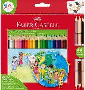 Faber-Castell - Children of the world colour pencil triangular 24+3
